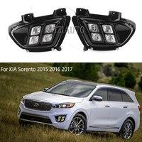 2pcs LED DRL For KIA Sorento 2015 2016 2017 Daytime Running Lights 12V ABS Fog Lamps Cover Driving Lights Accessories US model