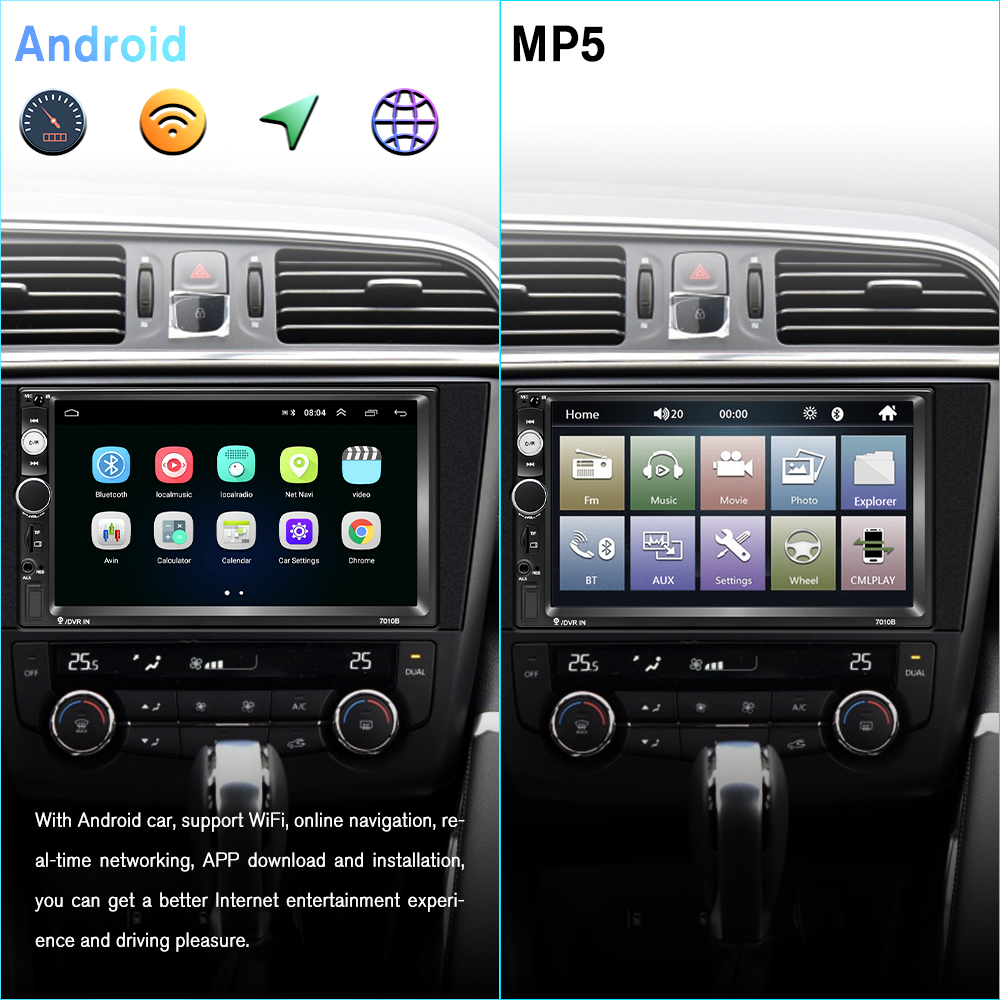 Podofo Android 8.1 2 Din Car radio Multimedia Video Player 2 din 7 Universal auto Stereo Autoradio WIFI Bluetooth GPS Audio Mirrorlink Touch Screen MP5 Player For Volkswagen Nissan Hyundai Kia toyota (2)