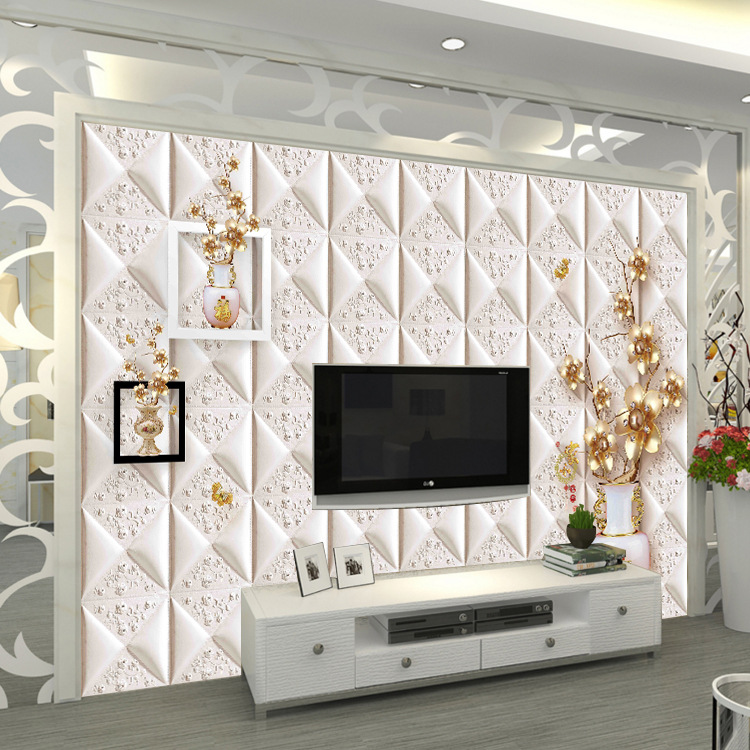 TV Background Wallpaper 8D Stereo Mural European Style Relief Jewelry Simple Living Room Bedroom Seamless Film And Television Wa