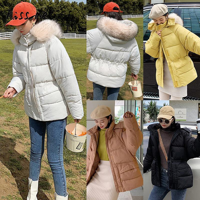 Fashion Loose Thermal Winter Down Jacket Female Solid Hooded Warm Down Coat Camping Hiking Cotton Clothing Thicken Cotton Suit