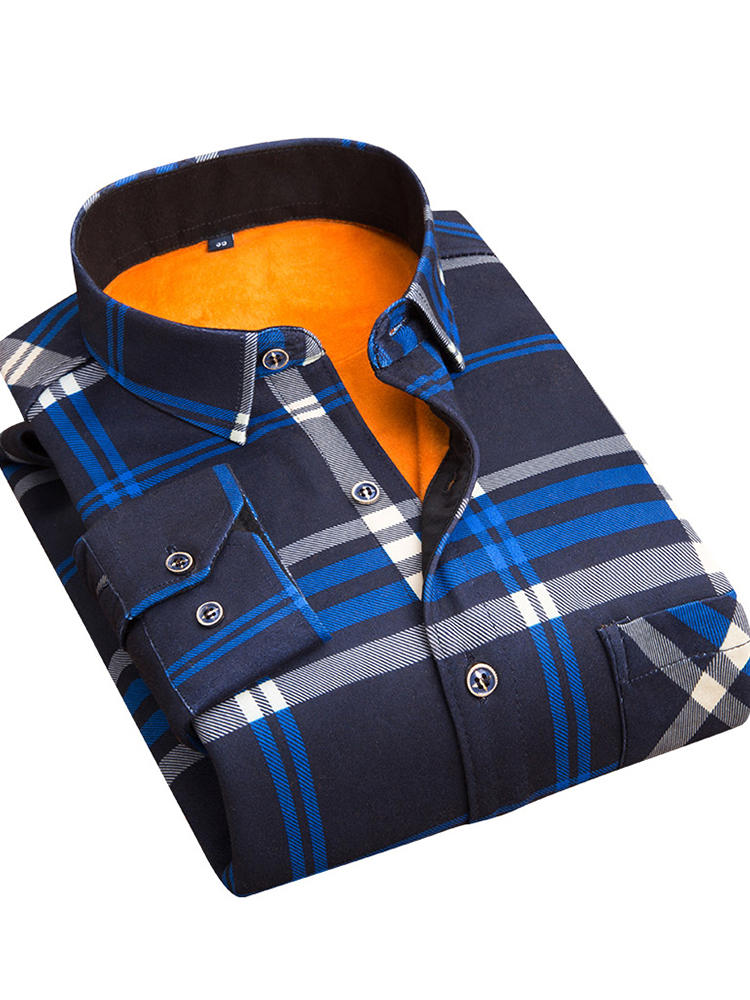 Social Shirt Clothing Warm Plaid Winter Men's Fashion Thickening Autumn Aoliwen And Male