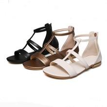 Летом к 2020 году новые плоские кожаные сандалии женщин свободного покроя Роман открытым носком женская обувь большой размер 41 черный шампанское