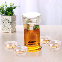 Borosilicate Glass Filter T-shaped Cup Green Leaf Tea Making Device High-temperature Resistant Glass Three-piece Set Elegant Cup(China)