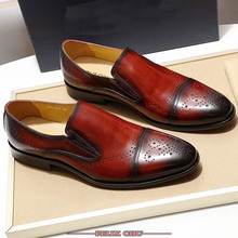 FELIX CHU Cap Toe Mens Casual Loafers Genuine Leather Brown Burgundy Slip-On Dress Shoes Office Wedding Formal Luxury Men Shoes цены онлайн