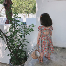 Toddler Baby Girl Dress Floral Short Sleeve Backless Party Princess Dresses Summer Rural Style 1-7Y Kids Girl Clothing Outfits цена 2017