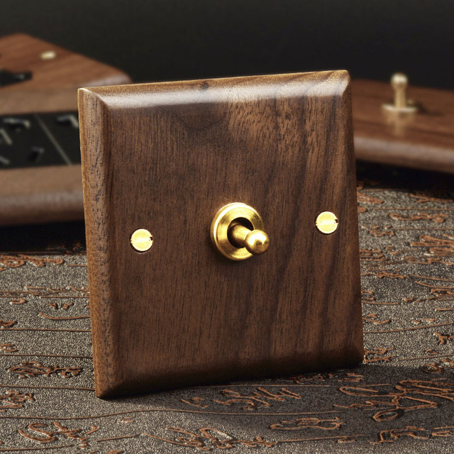 1-4 Gang 2 Way Black Walnut Solid Wood Toggle Switch Brass Lever Wall Lamp Switch for Home Improvement Free Shiping