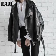 EAM – veste ample à col rabattu et fermeture éclair pour femme, de haute qualité, à la mode, nouvelle collection printemps 2021, LA938