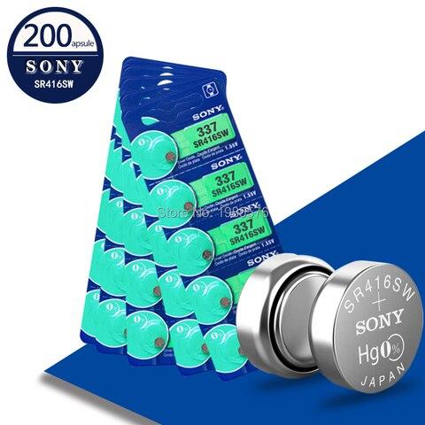 Botão de Célula Lote Sony 100% Original 337 Sr416sw 1.55 v Prata Óxido Assista Bateria Moeda Feita no Japão 200 Pçs –