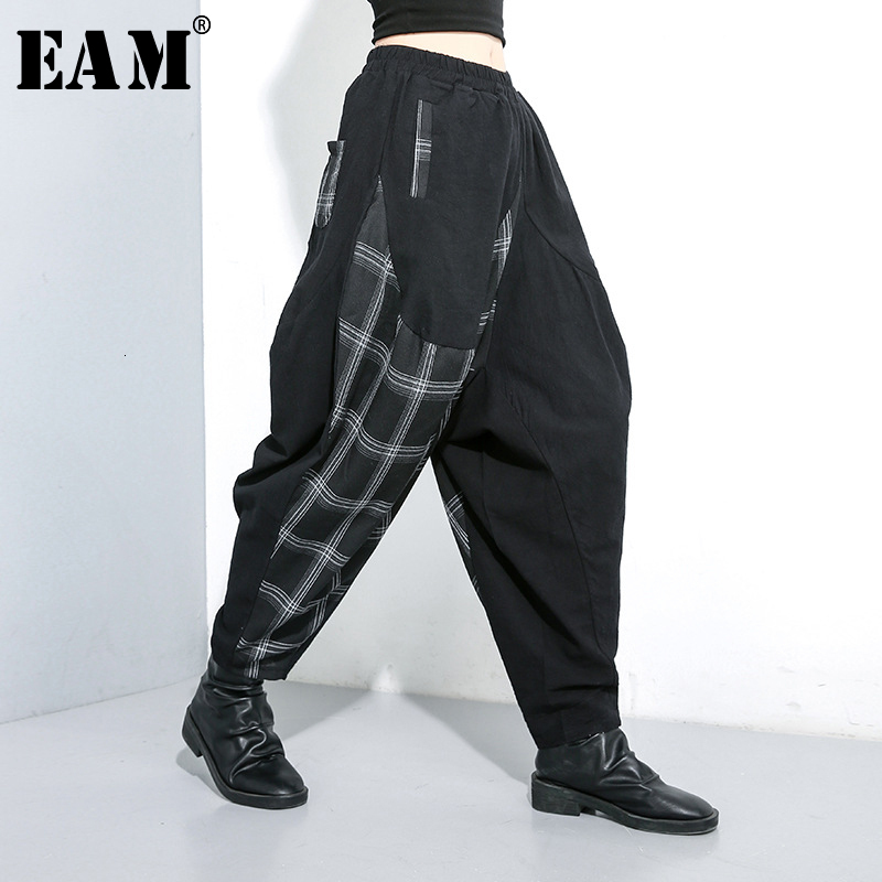 [EAM] High Elastic Waist Back Plaid Split Long Harem Trousers New Loose Fit Pants Women Fashion Tide Spring Autumn 2020 1K023