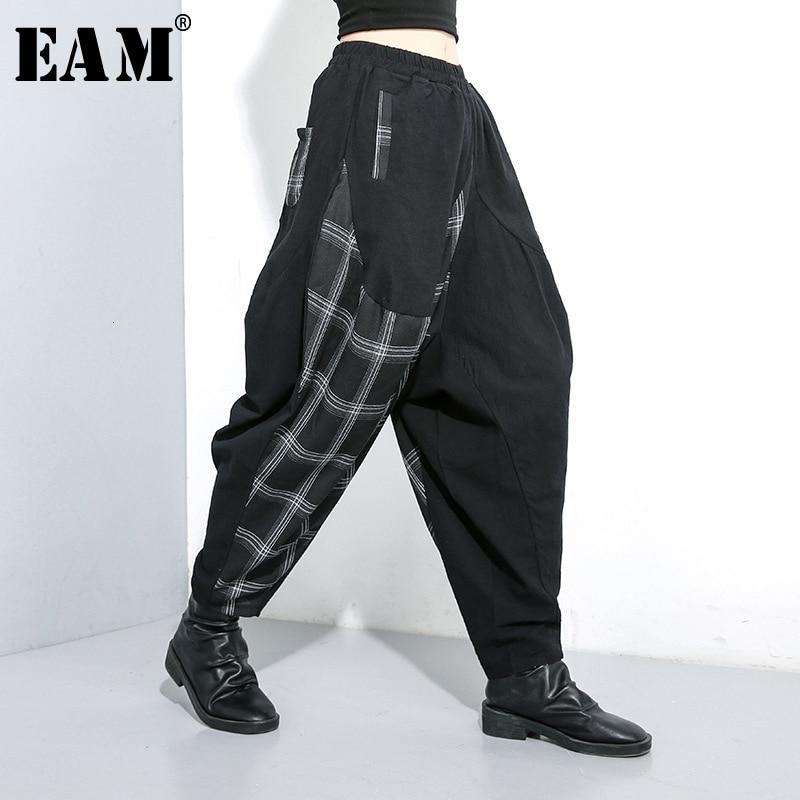[EAM] High Elastic Waist Back Plaid Split Long Harem Trousers New Loose Fit Pants Women Fashion Tide Spring Autumn 2020 1K023