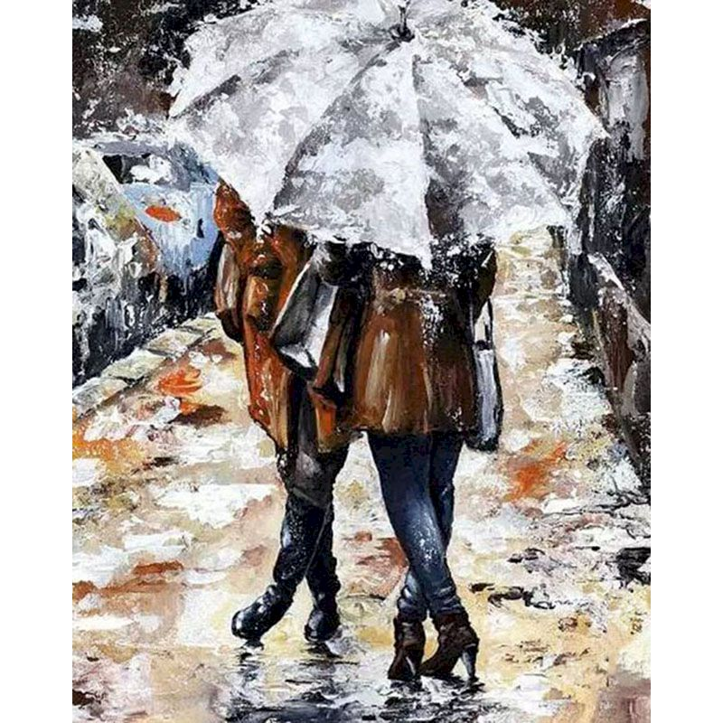 DIY Lover Paint By Numbers Rain Paiting Pictures By Numbers Romatic Lover Hand Painted Home Decor Drawing On Canvas For Wall Art-0
