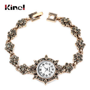 Kinel Bracelet Jewelry Charm Women Watch Gold Bridal Vintage Crystal Wedding Ethnic Antique
