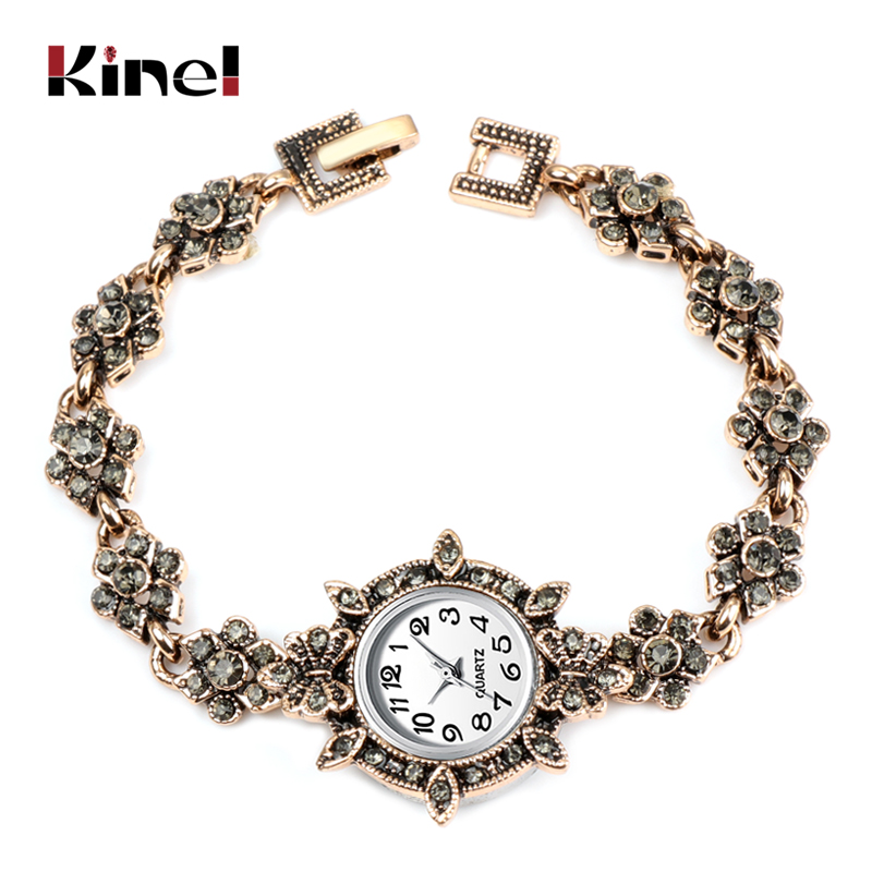 Kinel Charm Turkish Women Watch Link Bracelet Antique Gold Gray Crystal Bohemia Ethnic Wedding Bridal Vintage Jewelry