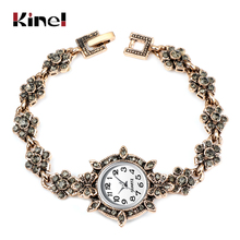 Kinel Charm Turkish Women Watch Link Bracelet Antique Gold Gray Crystal Bohemia