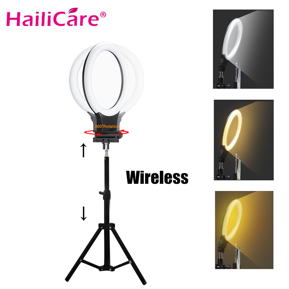 USB Rechargeable Wireless Selfie Ring Light Led Video Lamp Dimmable Photography Ring Light For Makeup & Light With Tripod