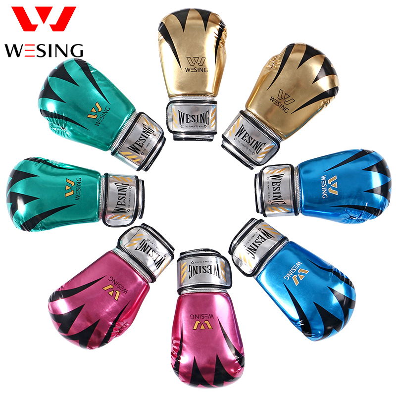 WESING miroir pu gants de boxe MMA arts martiaux gants d'entraînement hommes femmes gants