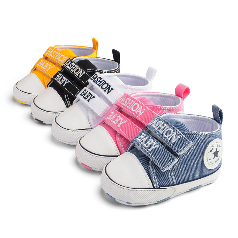 Baby Shoes For Newborn Baby Boy Girl Star Sneaker Soft Anti-Slip Sole Infant First Walkers Toddler Casual Canvas Crib Shoes