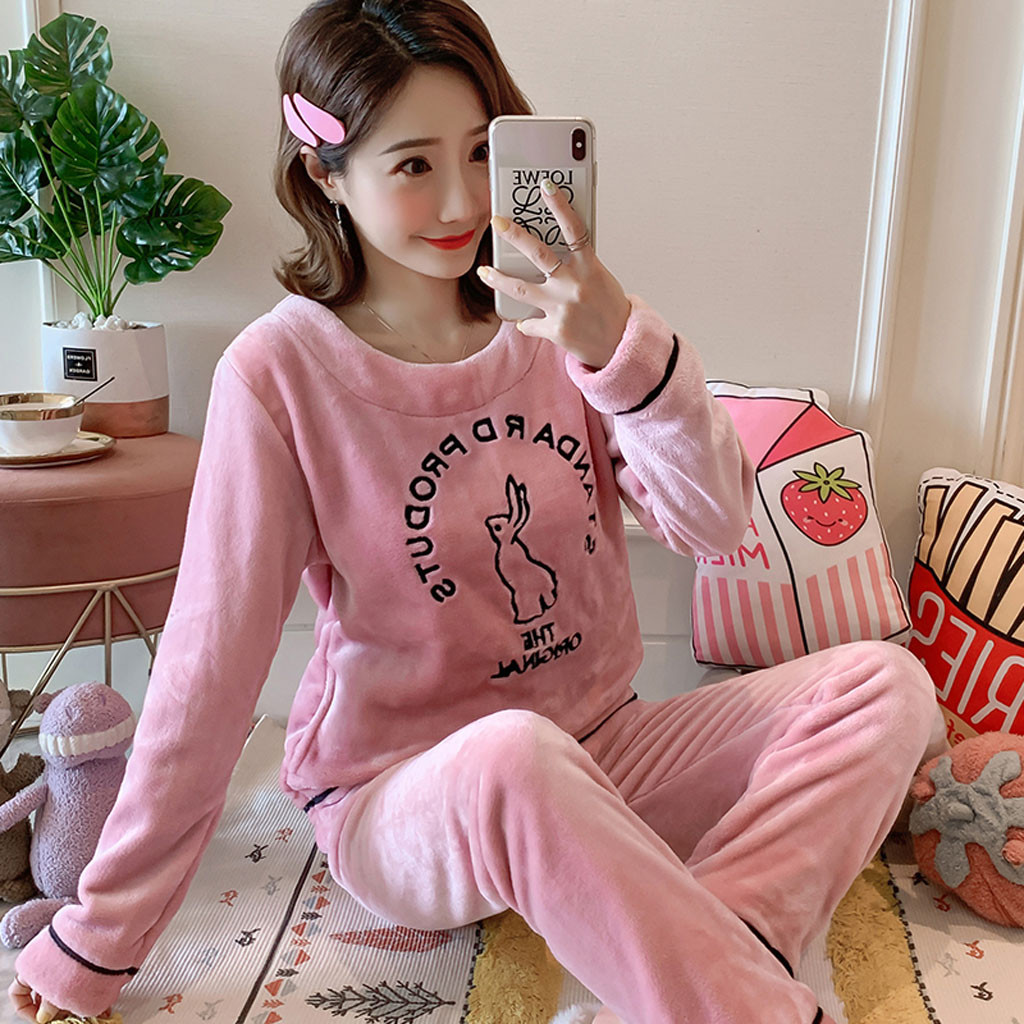 Autumn Winter Warm Flannel Women Pyjamas Sets Thick Velvet Long Sleeve Cartoon Sleepwear Thin Pajamas Set For Girl Set 2019 New