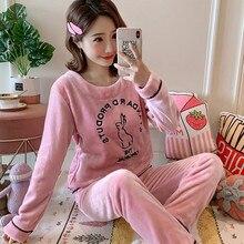 Autumn Winter Warm Flannel Women Pyjamas Sets Thick Velvet Long Sleeve Cartoon S