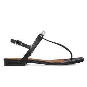 Женские кожаные сандалии на плоской подошве, брендовые дизайнерские сандалии с металлическими ремешками, модные роскошные шлепанцы с лого...