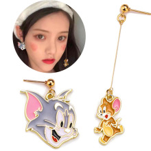 Cute Cartoon Tom Cat and Jerry Mouse Fashion Earring For Women Girls Kids Jewelry Gift printio tom and jerry
