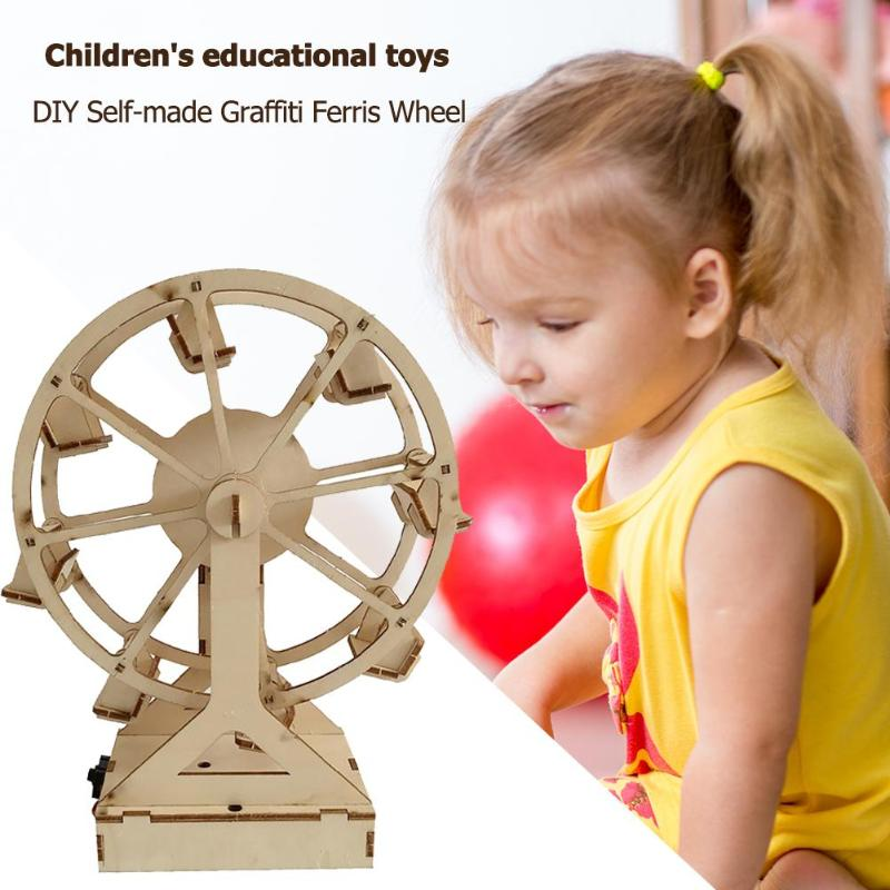 DIY Wooden Ferris Wheel Model Materials Kit Science Experiment Assemble Toy Children's Imagination Creativity Wood