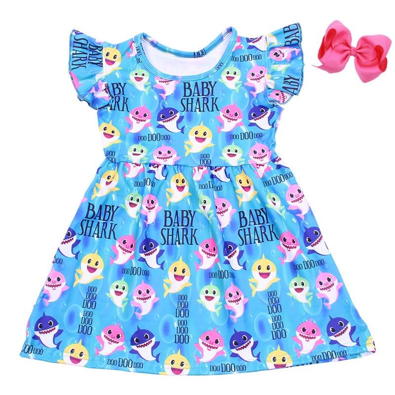 Shark-Dress Milk-Silk Boutique Baby-Girls Children Kids Sleeveless Bow with Twril Blue