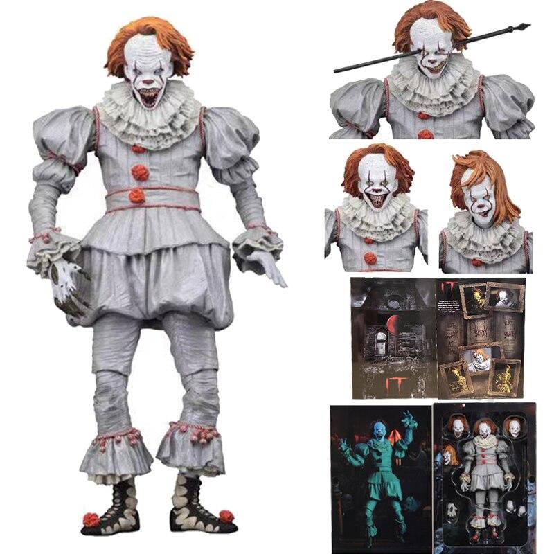 3 cabezas nuevo Original NECA Horror Pennywise de It Joker payaso MODELO DE figura de acción juguetes muñeca para regalo