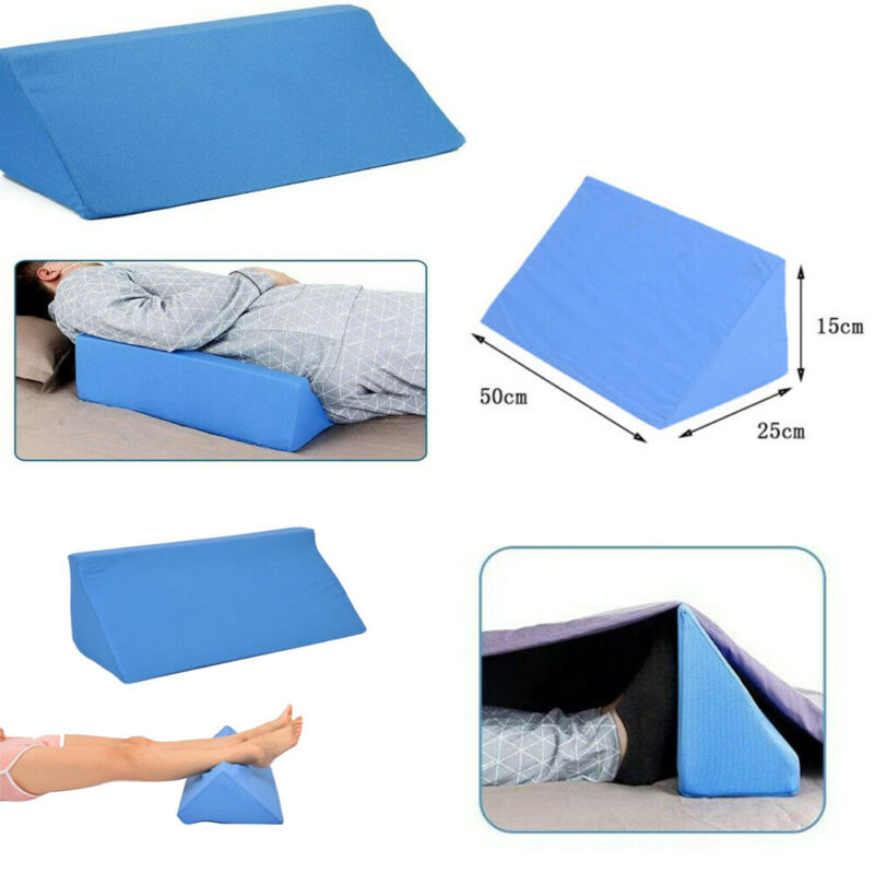 2020 orthopedic acid reflux bed wedge pillow soft leather sponge back leg elevation cushion pad triangle pillow bedding 2 color