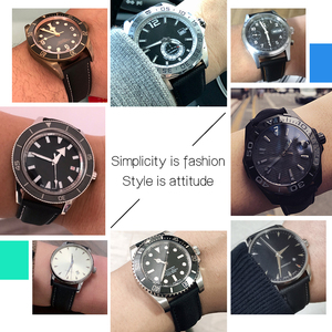 Image 4 - Nylon Mix Leather Canvas Watchband For Omeg a Speed Sea Master AT150 19mm 20mm 21mm 22mm 23mm Watch Strap For Fifty Fathoms