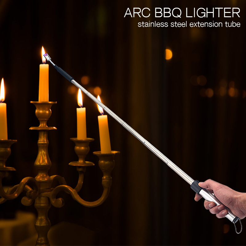 ARC BBQ Lighter Retractable USB Electric Lighter Arc  Rechargeable Firing gun Cigarette Cigar Arc Lighter Pipe Candle Lighter