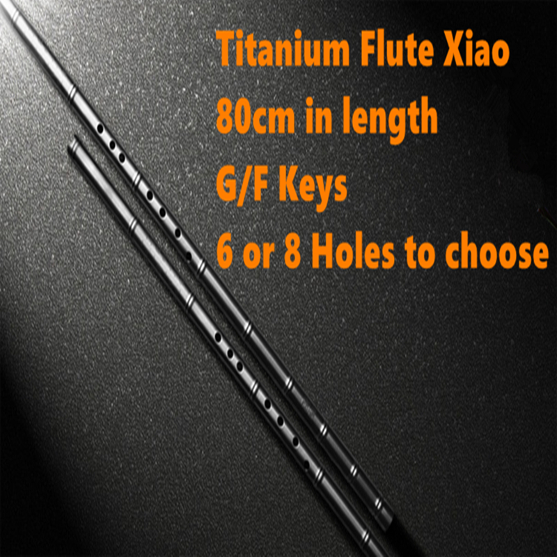 Titane métal flûte Xiao 80cm G/F clé pas dizi verticale flûte 6 ou 8 trous professionnel métal Flauta Xiao arme d'auto-défense