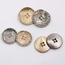 2 adet/grup Metal taklidi düğmesi giyim kazak ceket dekorasyon elbise düz kaliteli düğme aksesuarları DIY giyim X-019