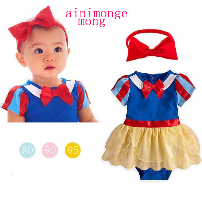 Infant 0 Girls 3 Snow White Princess Short Sleeve One-piece Romper 6. Headdress Two-Piece Set Crawling Clothes 1-Year-Old Triang