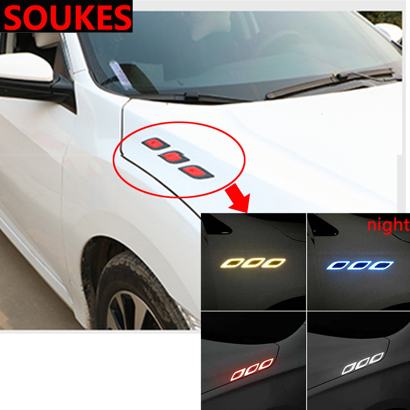 Carbon Car Air <font><b>Hood</b></font> Vent Reflective Fender Sticker For <font><b>Audi</b></font> A3 A4 B8 B6 A6 C6 A5 B7 Q5 C5 8P Q7 TT C7 8V A1 Q3 S3 A7 B9 8L <font><b>A8</b></font> 80 image