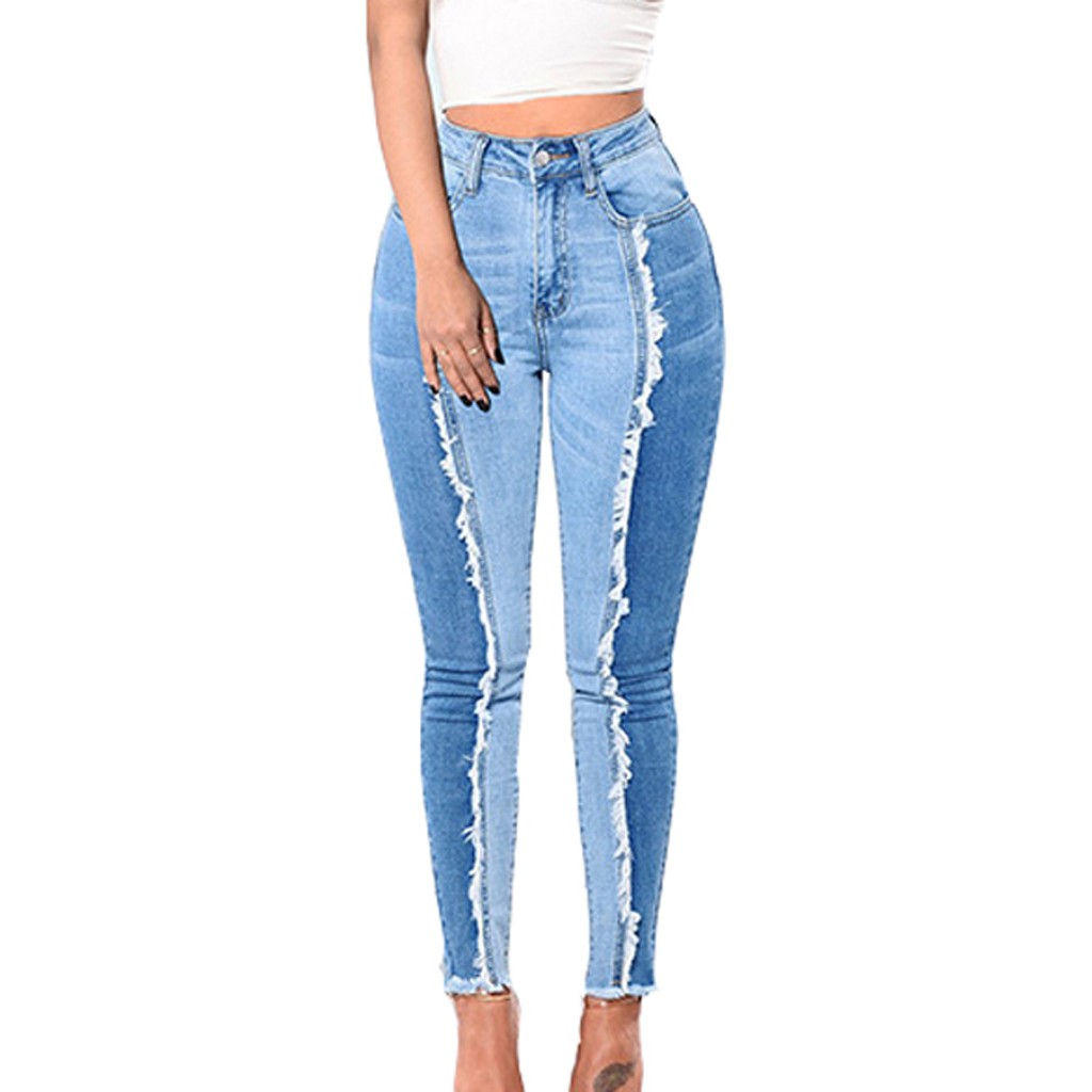 SAGACE Autumn  Winter Fashion Personality Ladies Solid Color Large Size Stitching Denim Casual Trousers Elastic High Waist Jeans