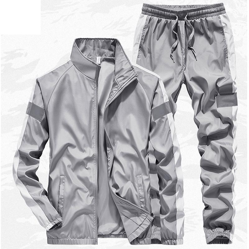New Tracksuit Men Two Piece Clothing Sets Casual Reflective Jacket+Pants Men`s Sportswear Gym Joggers Sweatsuits Man Track Suit
