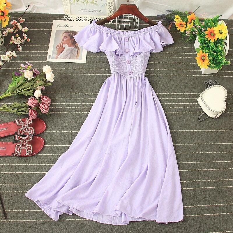 Сексуальное однобортное женское платье с вырезом лодочкой, Повседневное платье с высокой талией и оборками, с коротким рукавом, ТРАПЕЦИЕВИ...