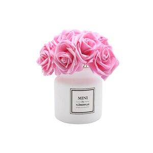 Image 3 - Flor de espuma de PE Artificial, Rosa Blanca de 7cm, decoración de Navidad para boda, álbum de recortes nupcial, ramo de flores artesanales, flor falsa, suministros DIY, 24 Uds.