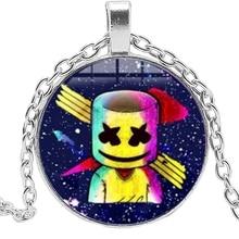 DJ Marshmello Necklace Creative Fun Cartoon Character Logo Glass Bullet Pendant Long Rock Hiphop Music Fan Gift