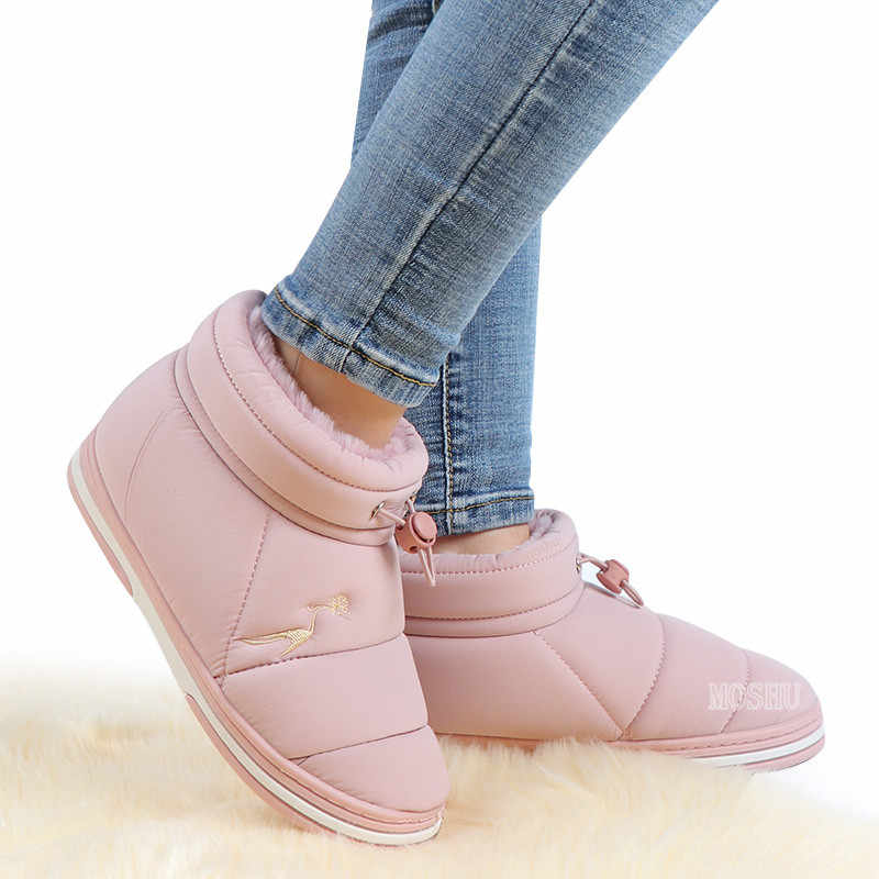 Kış ayakkabı kadınlar sıcak kürk astarı yarım çizmeler su geçirmez Platform çizmeler yumuşak elastik bant ayakkabı pembe Botas Mujer Invierno 2019
