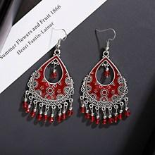 Vintage Red Beads Tassel Wedding Earrings Indian Jhumka Antique Boho Silver Color Flower Carved Drop Earrings Brincos Jewelry