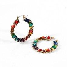 цена на Multicolor Princess Cut Rhinestone Hoop Earrings Elegant Birthstone Earrings Bride Wedding Jewelry Gem Earrings for Women