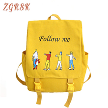 Female Canvas Backpack Bagpack For Women School College Student Cartoon Bookbag Backpacks Ladies Back Pack