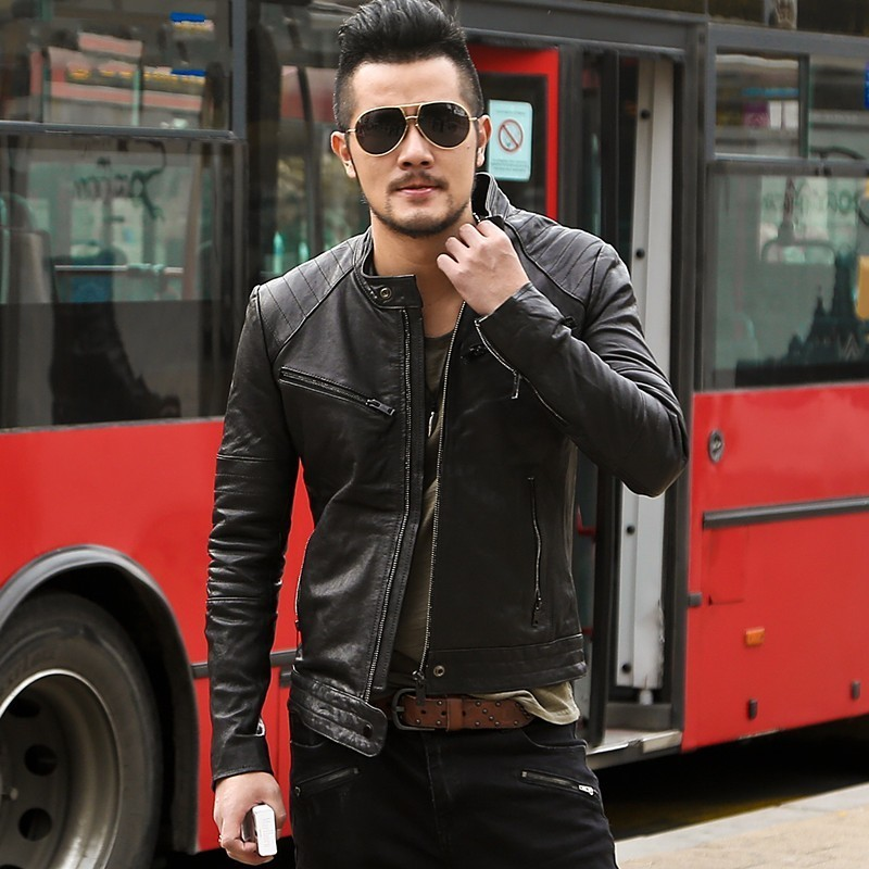 Italy Design High Quality Sheepskin Genuine Leather Mens Punk Jackets Stand Collar Slim Fit Rock Motorcycle Biker Outwear Coat