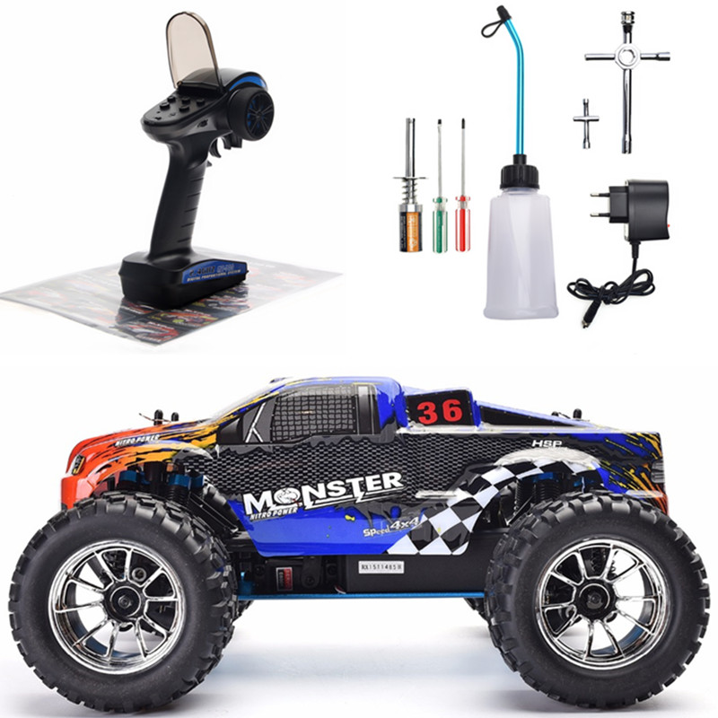 HSP RC Car 1:10 Scale Two Speed Off Road Monster Truck Nitro Gas Power 4wd Remote Control Car High Speed Hobby Racing RC Vehicle image