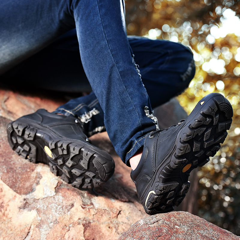 Retro Tactical Boots Men Genuine Leather Outdoor Trekking Shoes Comfortable Rubber Men's Sneakers Mountain Hiking Boots Men