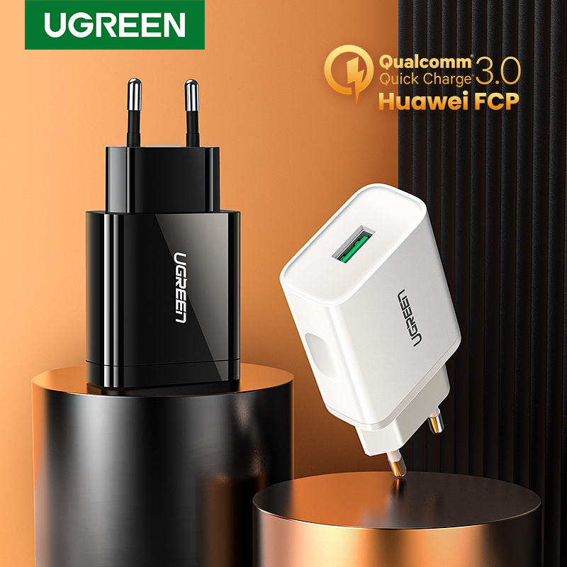 Samsung s10 Huawei Xiaomi iPhone üçün Ugreen USB Quick Charge 3.0 QC 18W USB Adapter QC3.0 Sürətli Divar Şarj cihazı