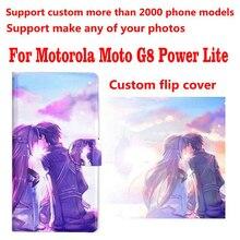 Étui en cuir pour Motorola Moto G8 Power Lite, housse à rabat, photo personnalisée, DIY