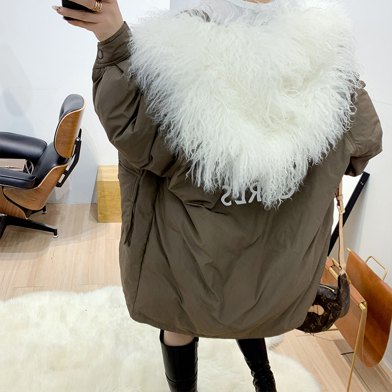 Luxurious Sheep Beach Wool Fur Collar+White Duck Down Jacket Coat Women's Winter Warm Thick Parka Jacket Hooded Loose Mid-length
